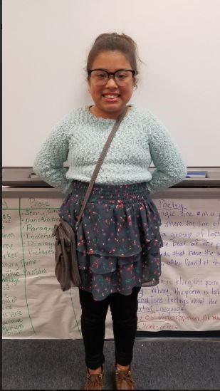 A student dressed like she is 100 years old