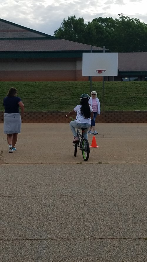 Fourth Graders at the Bike Rodeo