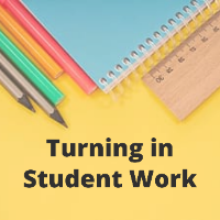 Turning in Student Work Icon with pencils, ruler, and notebook