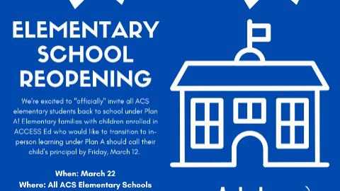 ACS Elementary Schools to Reopen Under Plan A