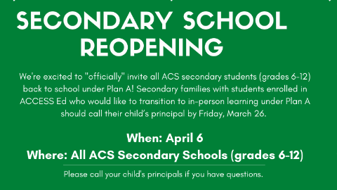 ACS Secondary Schools to Open in Plan A
