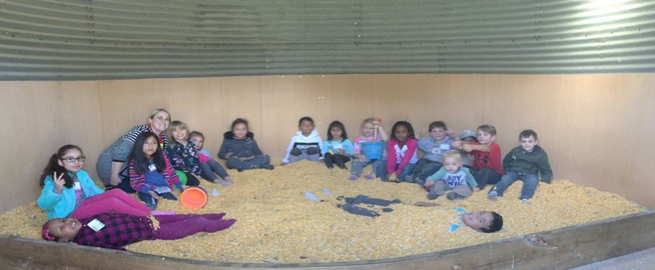 Grade 2 Whitaker Farm Field Trip Corn Pit Group Photo