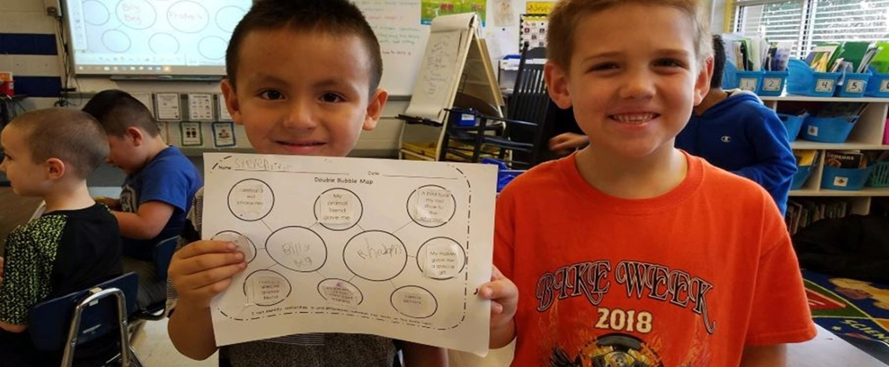 A couple of Grade 1 students showing their work of Thinking Map Double Bubble