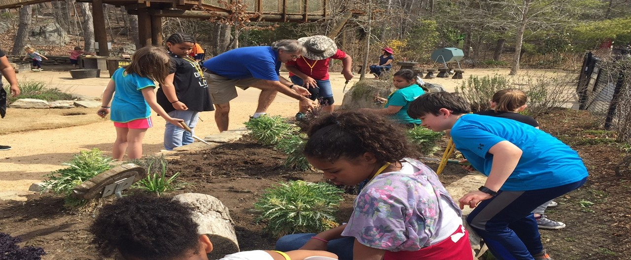 Unite Club helps plant garden at NC Zoo Kidzone