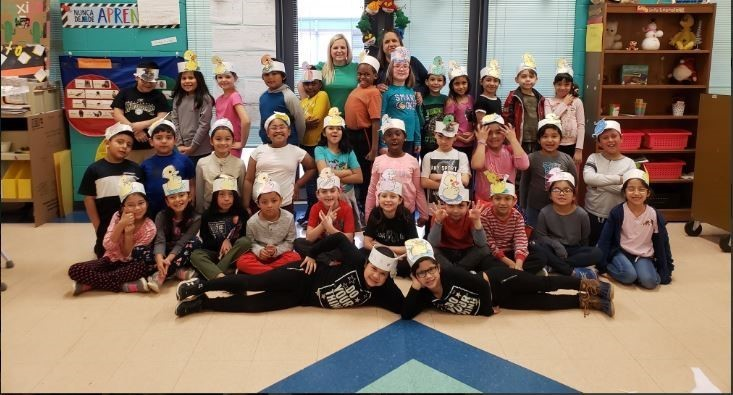 Students celebrating Read Across America Week