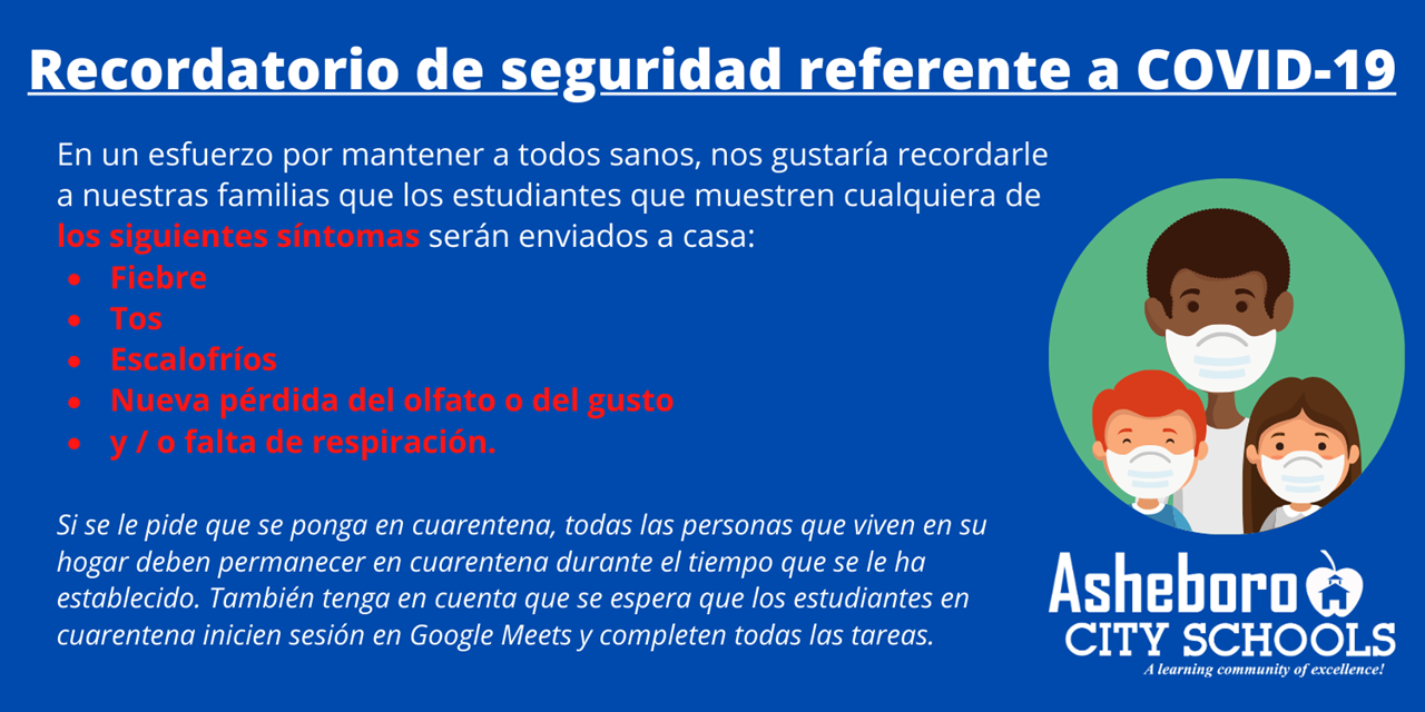 White and red text in Spanish on blue background regarding COVID-19 safety reminder. Circle image with three people wearing face masks and district logo in white.