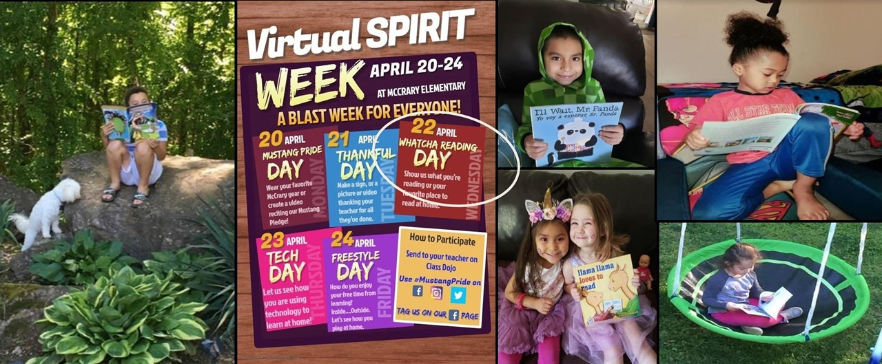 Virtual Spirit Week - Reading Day - A collage of smaller pictures showing six students reading in different locations at home