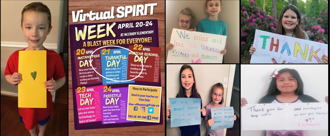 Virtual Spirit Week - Thankful Day - A collage of smaller pictures showing seven students at home holding thank you and miss you signs to teachers and friends