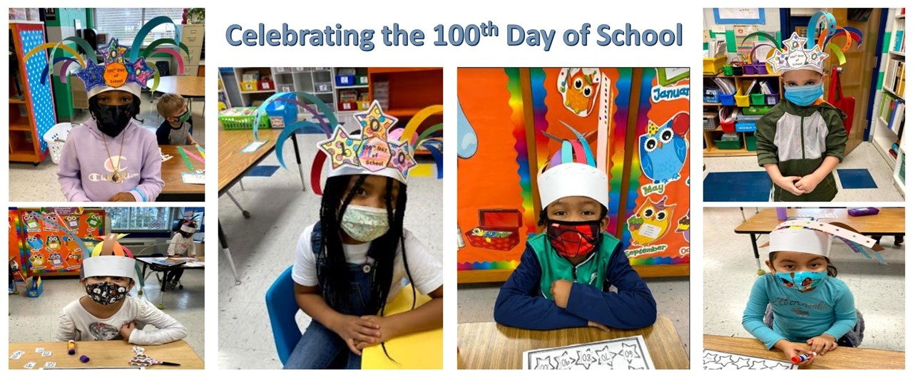 collage of 6 kindergarten students wearing handmade head pieces celebrating the 100th day of school