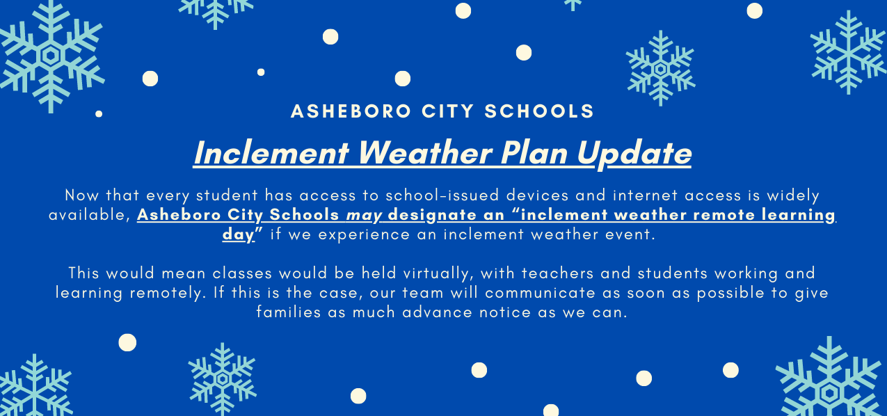 Inclement Weather Plan Update