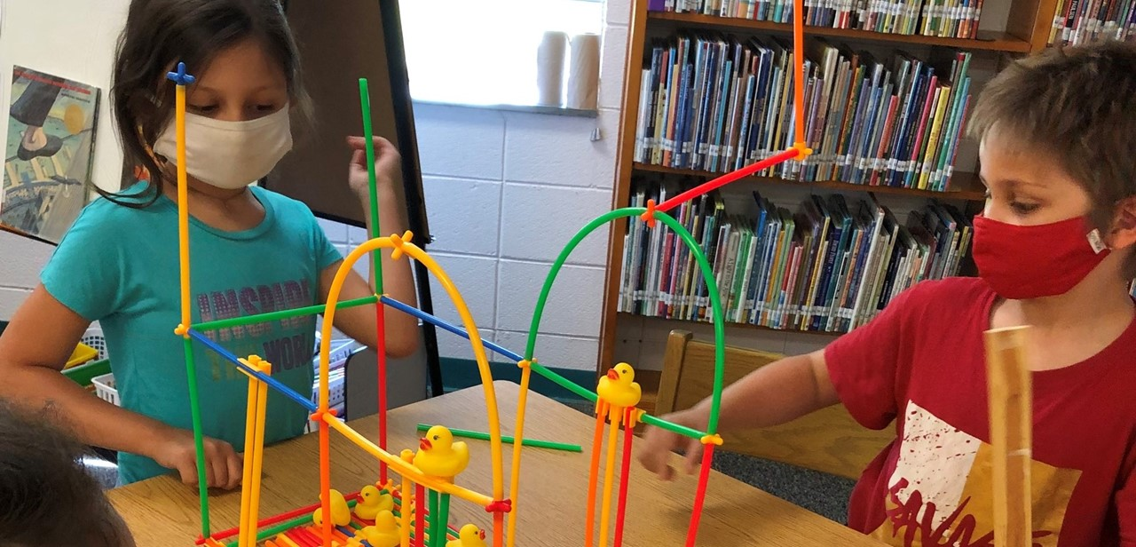 First graders building