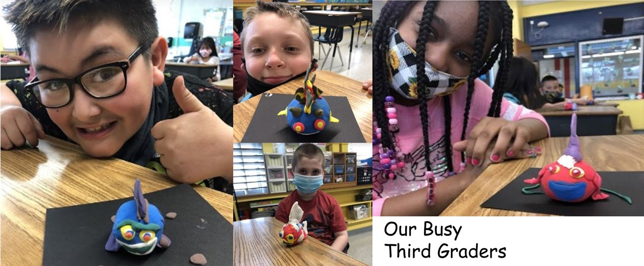 a collage of 4 pictures showing 3rd grade students showing off their fish sculpture