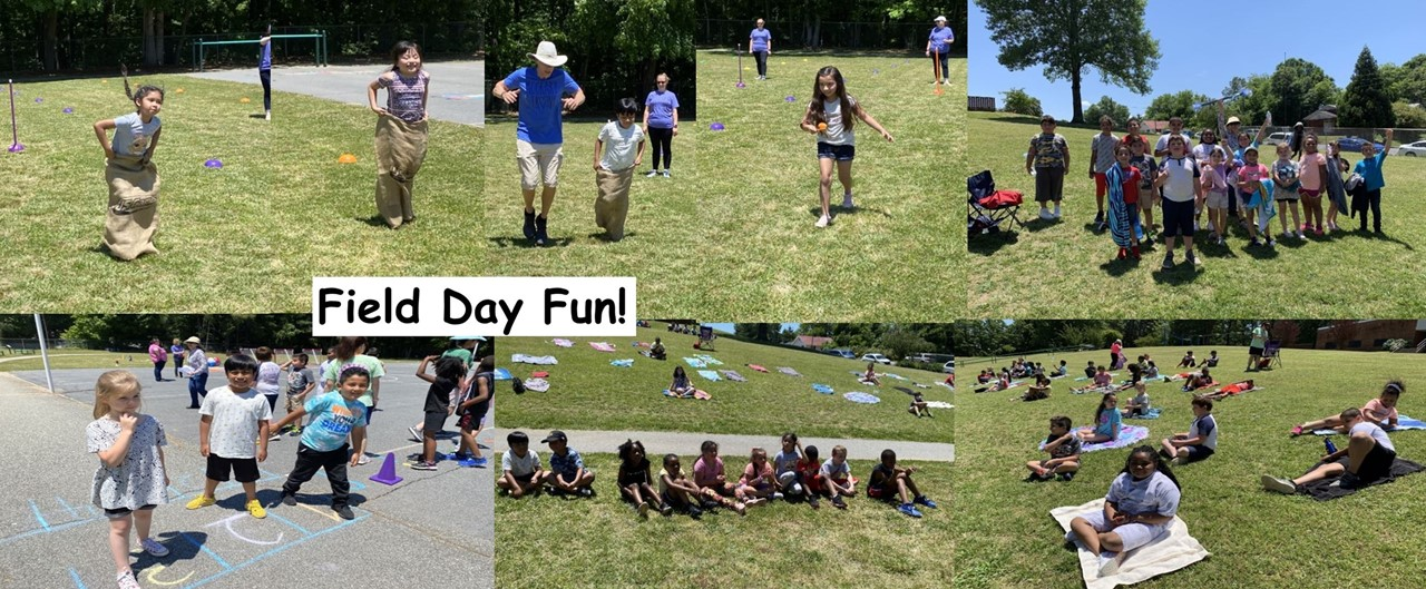 Collage of 7 pictures depicting 2nd graders outside having fun at field day. sack race, spoon race, sitting on hillside watching, lined up on blacktop waiting turns, a group of students standing together holding the spirit stick.