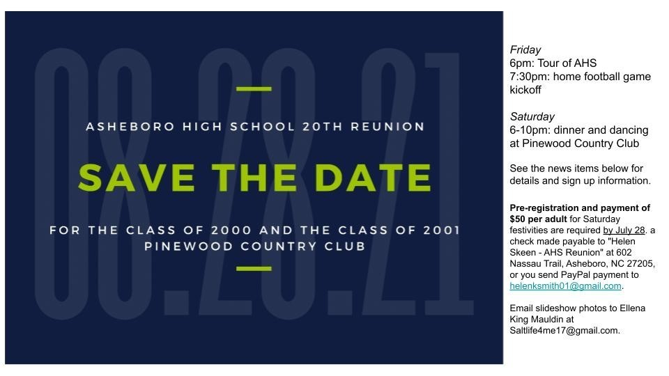 Class of 2000 and 2001 reunion information