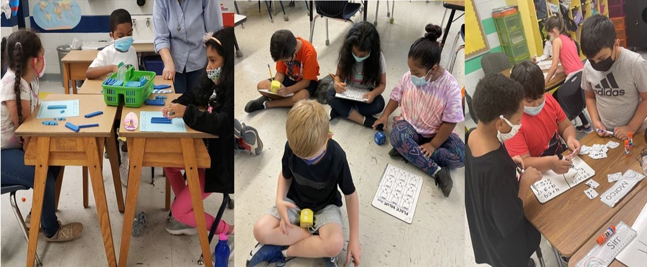 a collage of 3 pictures showing 2nd grade students working with math manipulatives while learning about place value